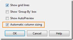 automatic column sizing