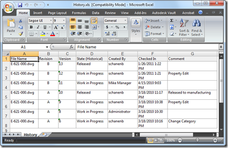 History Exported to Excel