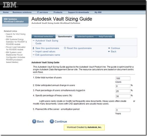 Autodesk Vault IBM sizing guide
