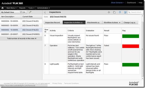 New Inspection Item Grid tab